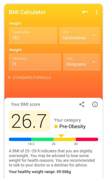 BMI Calculator - find ideal weight