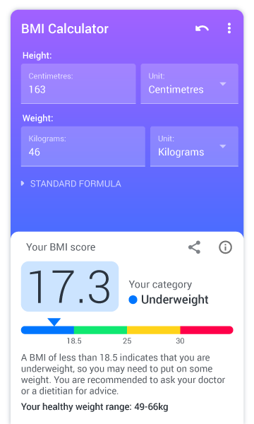 BMI Calculator - find ideal weight